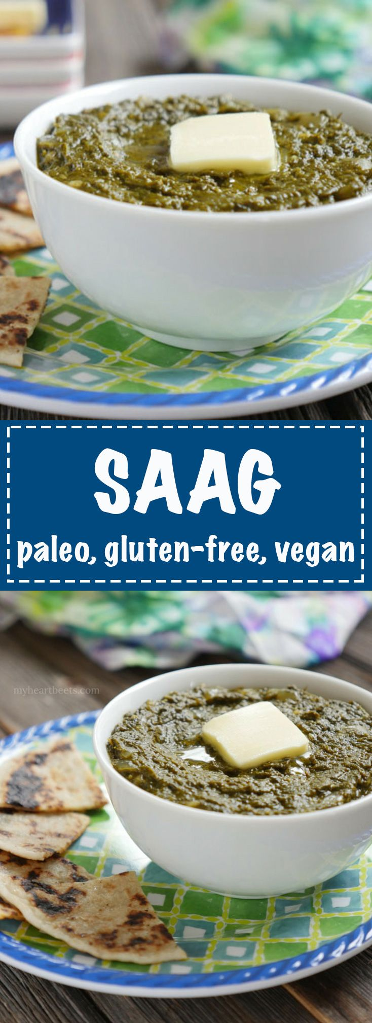 You'd never guess that this saag is paleo-friendly!! It calls for ghee but it's easy to make it vegan too!