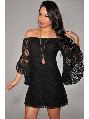 Black Off-The-Shoulder Mini Lace Dress for Pary Prom $22.95 http://www.sensationofnight.com/black-off-the-shoulder-mini-lace-dress-for-pary-prom-2809-2.html