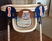 I AM ONE Football highchair Banner, Football themed first birthday party, rookie of the year first birthday, all star first birthday theme
