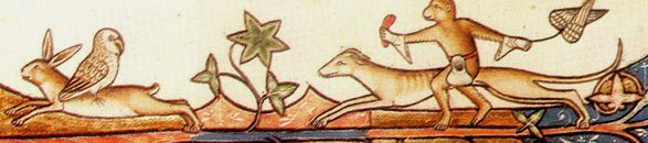 A monkey riding a greyhound chases an owl riding a hare. From the Ormesby Psalter (13-14th C.), psalm 109