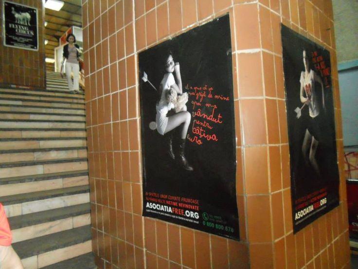 Campania de prevenire a traficului de persoane la metrou.