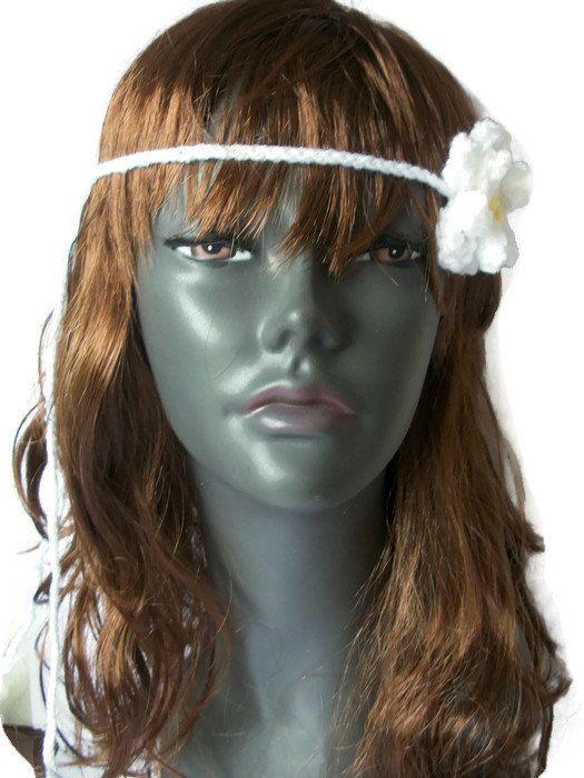 Boho Hairband, Daisy Floral- Hand knitted, £4.99