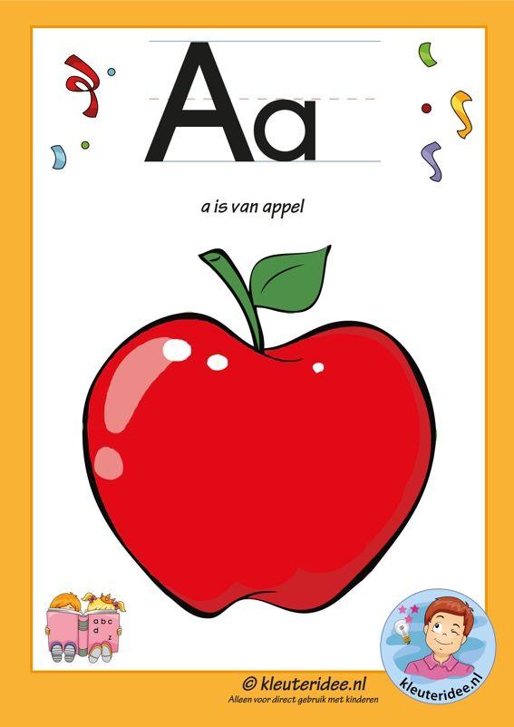 Pakket over de letter a , letterkaart, letters aanbieden aan kleuters, kleuteridee, free printable.