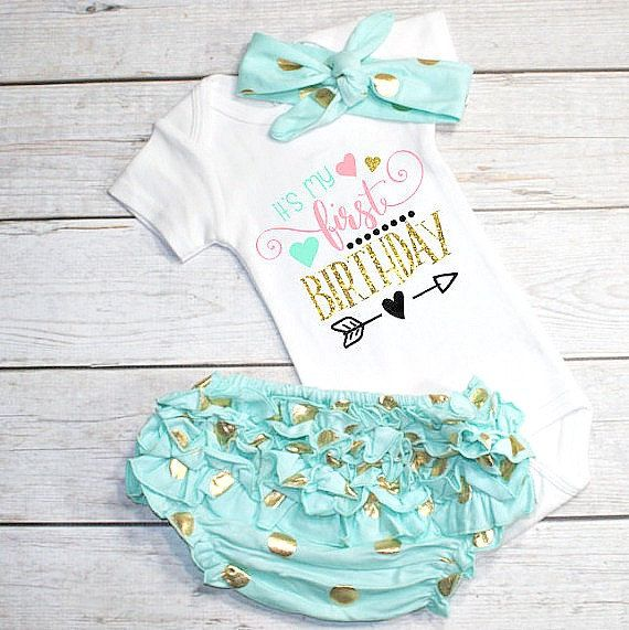 1st Birthday shirt Girl- 1st birthday outfit- Pink mint Gold outfit- Cake Smash…