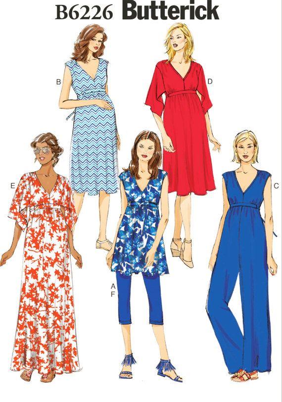 Zwangerschaps jurk patroon, moederschap tuniek Top en legging patroon, moederschap patroon, Butterick naaien patroon 6226