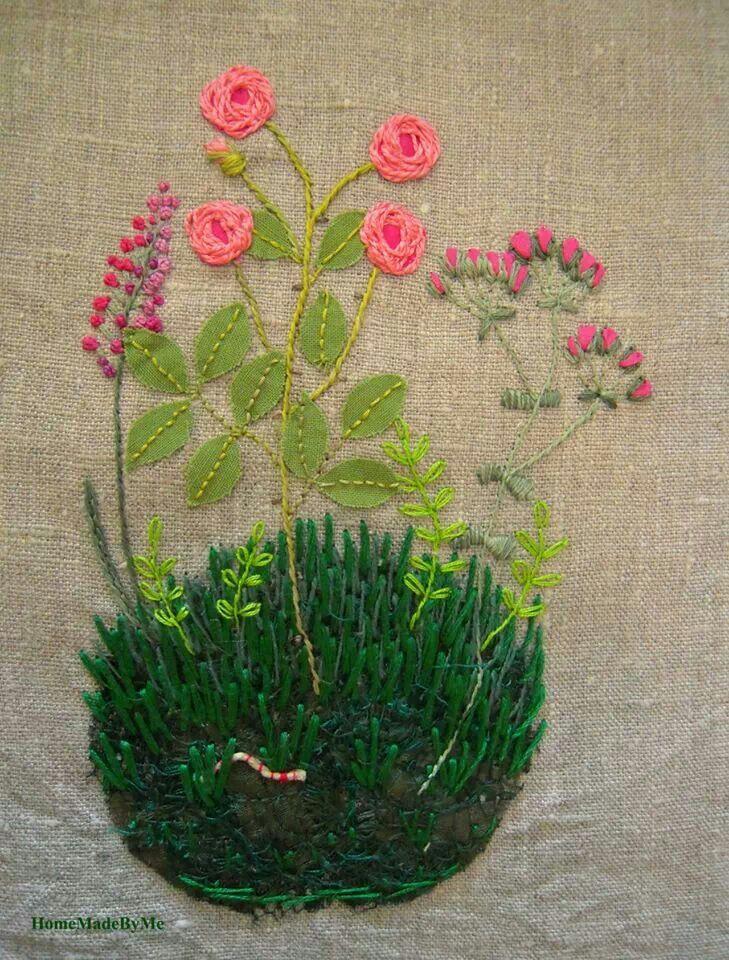 Bordado jardín con flores - Kazuko Aoki