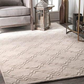 nuloom handmade modern trellis fancy wool cream rug 4u0027 x 6u0027 cream beige size 4u0027 x 6u0027