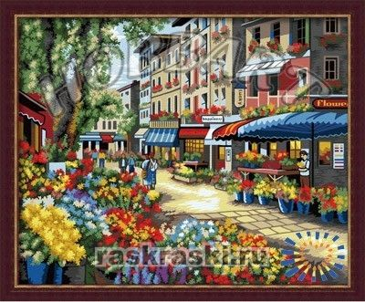 Раскраска по номерам Hobbart «Цветочный рынок» (холст, 40х50 см)