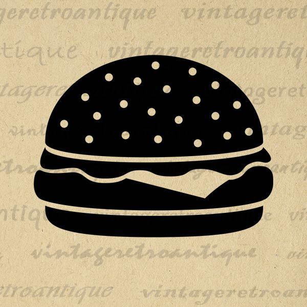 Printable Digital Hamburger Image Download Cheeseburger Graphic Artwork Jpg Png Eps  HQ 300dpi No.4017 @ vintageretroantique.com #DigitalArt #Printable #Art #VintageRetroAntique #Digital #Clipart #Download