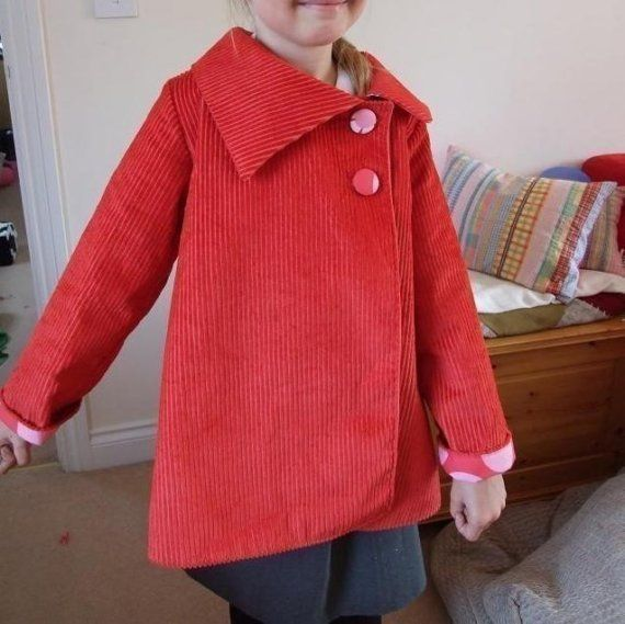 Asymmetrical reversible jacket sewing tutorial and pattern 5y/6y/7y/8y