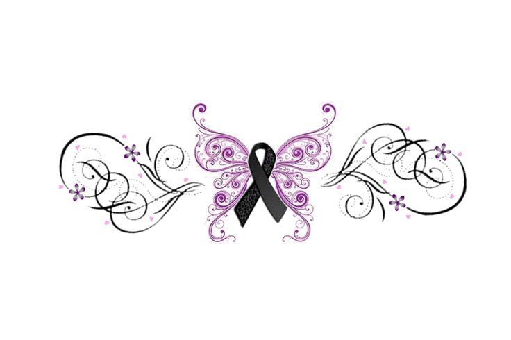 Melanoma Ribbon Butterfly Tattoo Idea