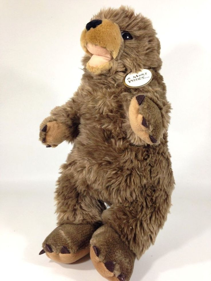 "Build A Bear Groundhog 16"" Plush Stuffed Animal Spring is Near Necklace Toy #BuildABearWorkshop"