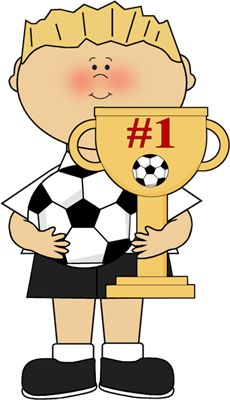 Boy with Soccer Trophy Clip Art - Boy with Soccer Trophy Image