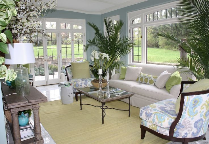 Soft blue sunroom s wall paint colors with white sofa and for Sunroom interior walls