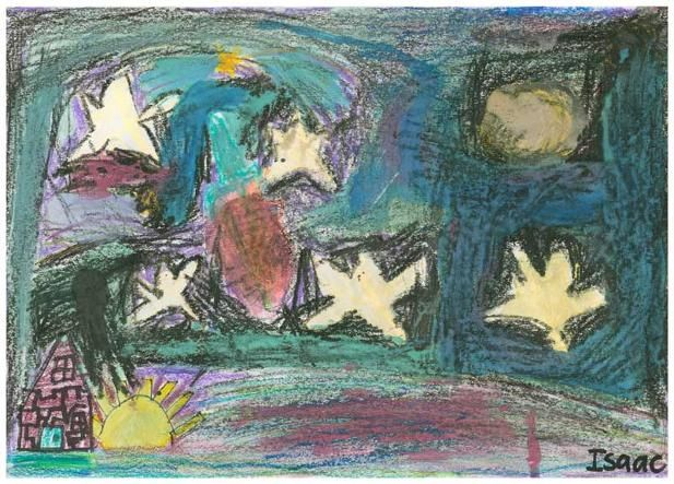 """Night of Stars by Isaac W., Grade 1. This artwork (originally sized at 6""""x10"""") was chosen to be reproduced as a 20""""x 30"""" poster for the school's fundraiser.  Isaac's Artist Statement: """"After I drew my artwork, I felt proud about it. I was inspired by a dream that I had about seeing stars at night. It made me feel happy. I chose to draw this picture because it was my favourite."""""""