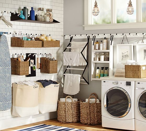 Gabrielle Laundry Set | Pottery Barn 8 Peg rail + canvas hanging hamper (65*0343574) Possible solution to small laundry room??