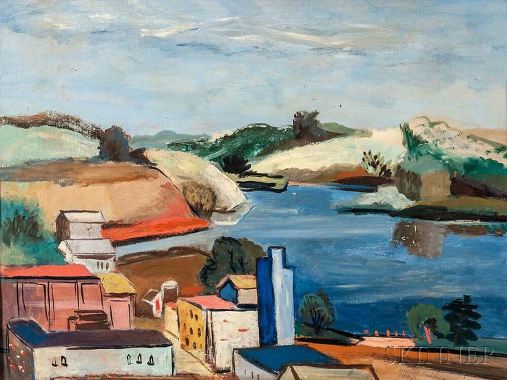Walter Kuhlman (American, 1918-2009) Modernist Coastal View | Sale Number 3010B, Lot Number 369 | Skinner Auctioneers