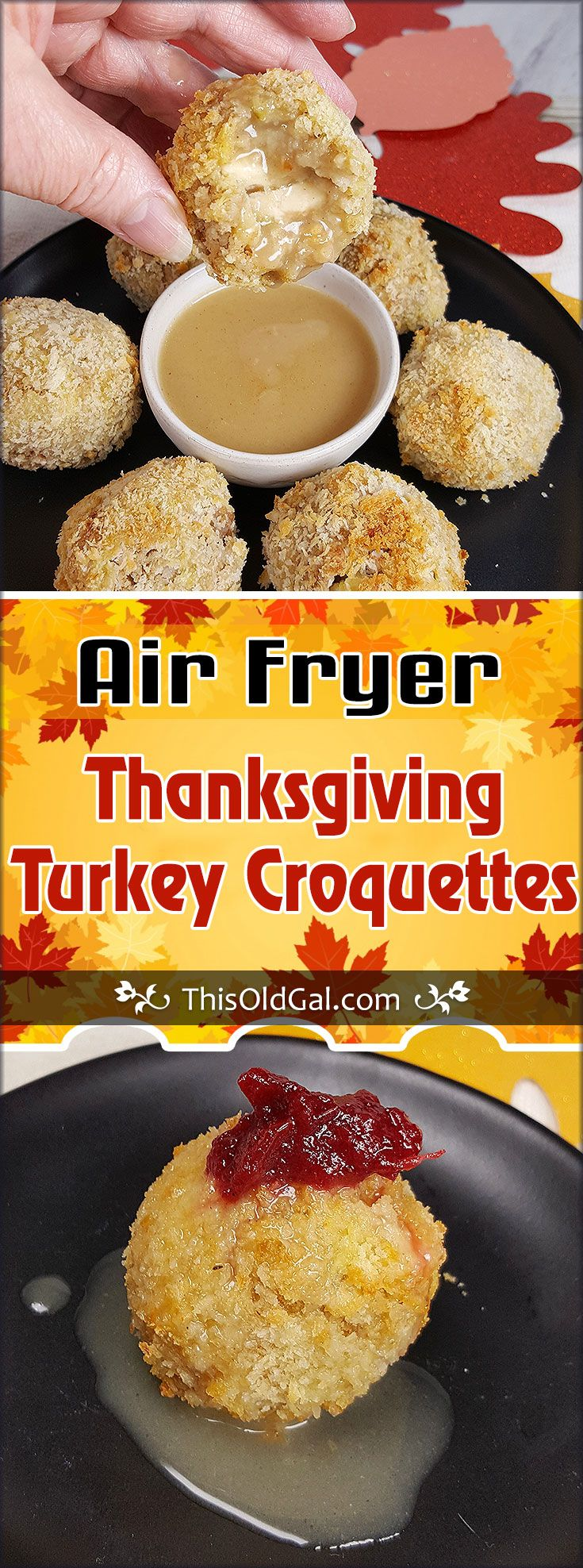 Air Fryer Turkey Croquettes {Thanksgiving Leftovers} via @thisoldgalcooks