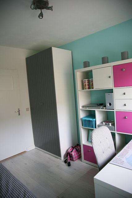 Ikea Teen Girlu0027s Bedroom, Ikea Expedit , Ikea Pax, Pink, Mint, Grey