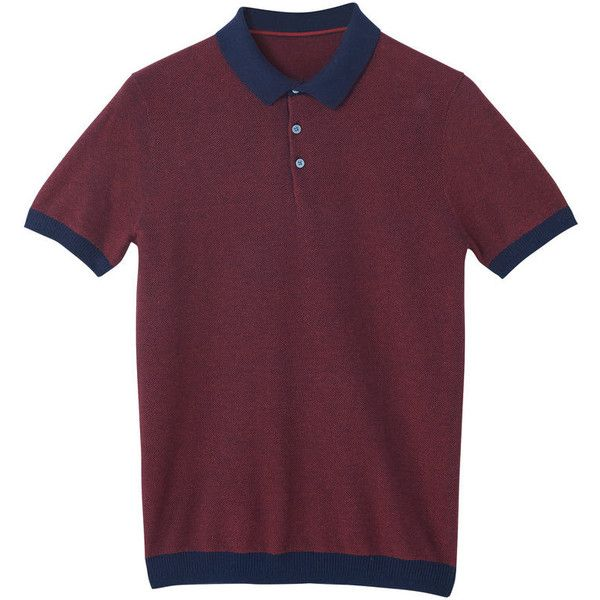 Cotton Piqué Polo Shirt ($26) ❤ liked on Polyvore featuring tops, polo collar shirts, polo shirts, short sleeve polo shirts, purple top and collar top