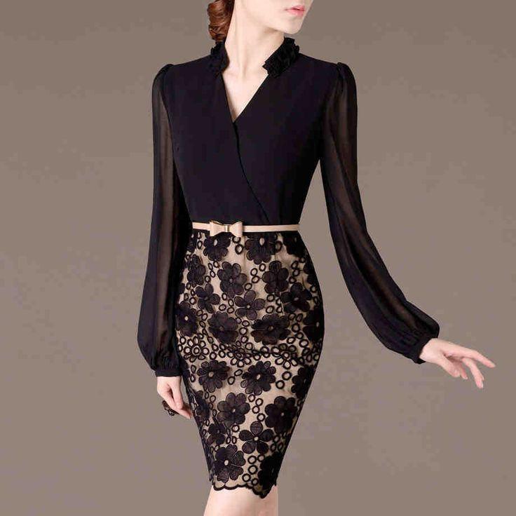 2014 otoño invierno ol nuevo delgado elegante v cuello largo manga gasa vestido de encaje en de en Aliexpress.com