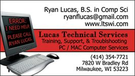 Business card design for Lucas Technical Services in Milwaukee: http://ltswi.com
