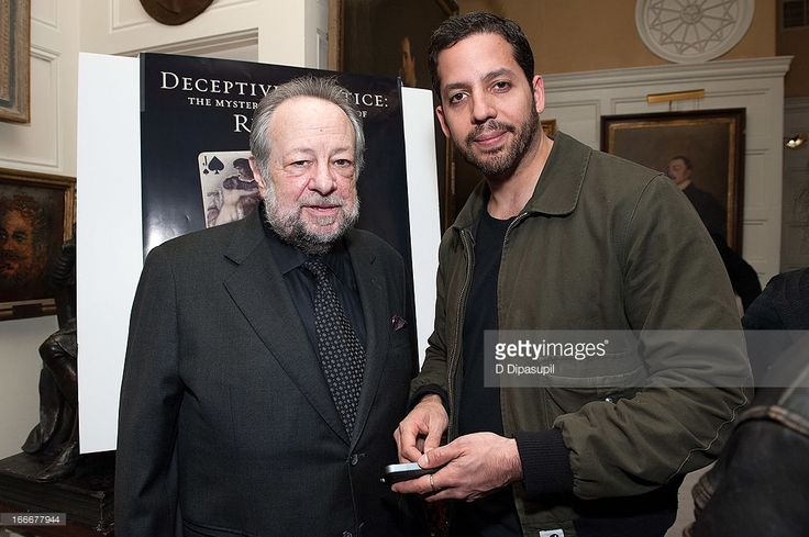 Ricky Jay (L) and David Blaine attend the 'Deceptive Practice: The Mysteries And Mentors of Ricky Jay' screening at The Players Club on April 15, 2013 in New York City.