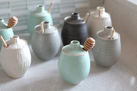 Pottery Honey Pot Polka Dot Sea foam Green by FringeandFettle