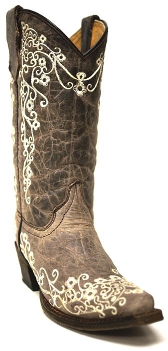 Corral Girls' Bone Embroidery Cowgirl Boots -- Wouldn't these be perfect for your flower girl? The bone embroidery design is adorable and would go with any color scheme. | SouthTexasTack.com