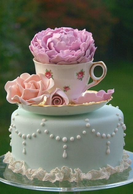 What a  cute Shabby Chic Cake Idea for a Shabby Chic Tea Party!                                                                                                                                                                                 More