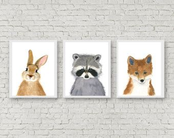 Mapache de bebés, conjunto de grabados, pinturas de animales, zorro, Original de ciervos, cervatillo, pintura, decoración de la pared de los niños, guardería, impresión del arte de los niños del bosque