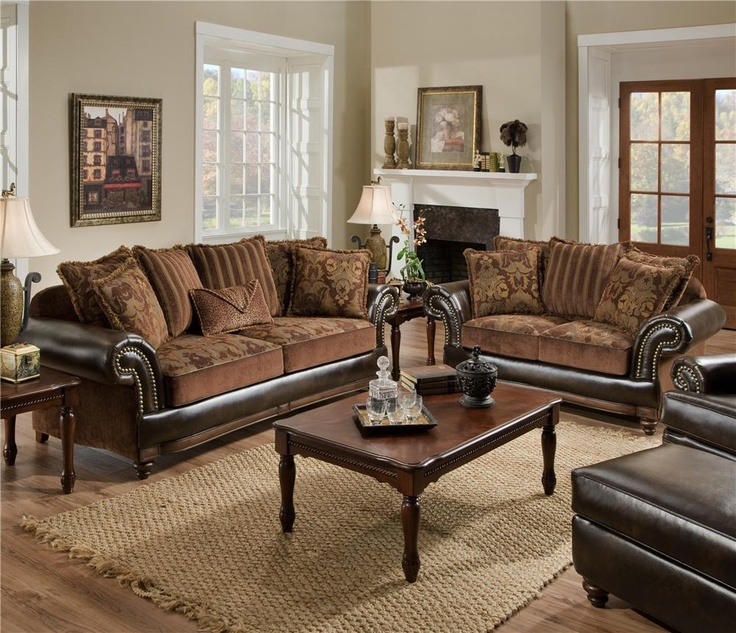 67 best furniture and fabrics images on pinterest for Leather and fabric living room sets