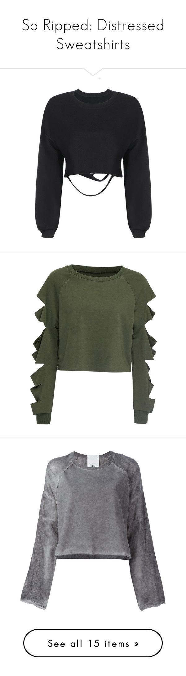 """""""So Ripped: Distressed Sweatshirts"""" by polyvore-editorial ❤ liked on Polyvore featuring distressedsweatshirts, tops, hoodies, sweatshirts, shirts, black, sweaters, yoins, ripped shirt and distressed sweatshirt"""