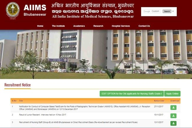 AIIMS Bhubaneswar recruitment 2017: Almost 1000 vacancies announced for Grade I II nurses at aiimsbhubaneswar.edu.in; apply now  AIIMS Bhubaneswar recruitment 2017: The All India Institute of Medical Sciences Bhubaneswar (AIIMS) has announced a huge number of vacancies to fill up the posts of Senior Nursing Officers Staff Nurses Grade-I and Nursing Officers or Staff Nurses Grade-II at aiimsbhubaneswar.edu.in.  AIIMS Bhubaneswar recruitment 2017: AIIMS Bhubaneswar has announced a huge number…