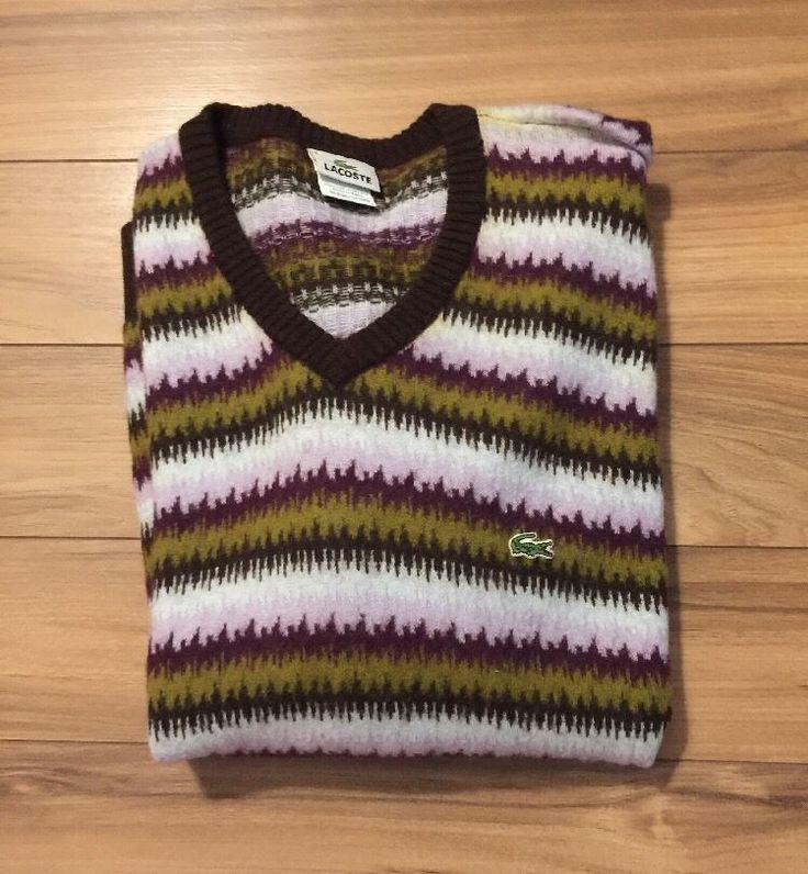 Lacoste Sweater Wool MENS XXL 6 Design Zigzag  | eBay