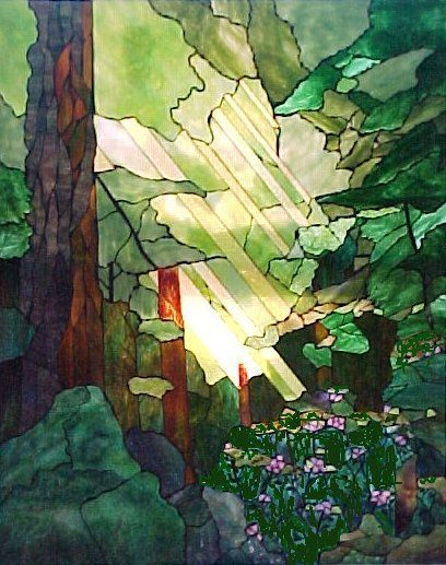redwood grove stained glass. Nasrene MacDonald practices Impressionist, Tiffany copperfoil, and peinture à verre stained glass art