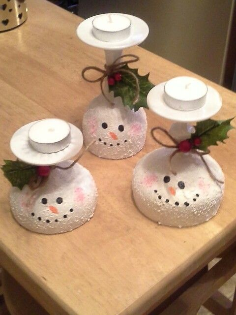 Wine glasses from Goodwill...painted with snow texture paint. Cute candle holders and so easy! by Leigh Hinson