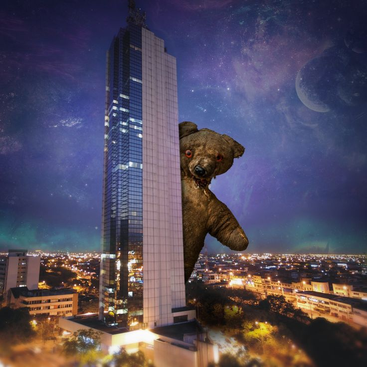 Teddy's City  #teddybear #city #surreal #surrealism #sky #space