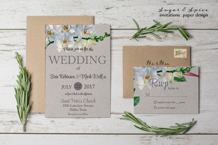 Watercolor Floral Wedding Invitation, Orchid Wedding Invitation, Rustic Wedding Invitation, Printable Wedding Invitations by SugarSpiceInvitation on Etsy https://www.etsy.com/listing/498195958/watercolor-floral-wedding-invitation