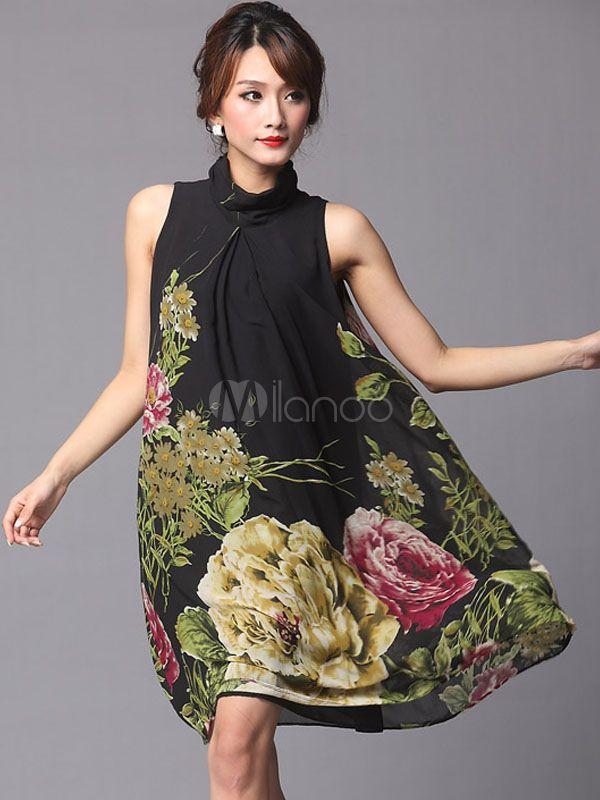 Vestido vintage de seda elástica con estampado floral - Milanoo.com