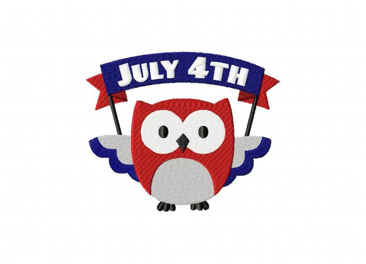 July 4th Owl Banner Machine Embroidery Design