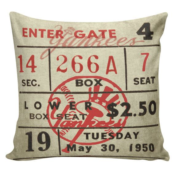 Baseball Pillow Cover   Cotton Front, Cotton Or Burlap Back Vintage Sports  Theme Man Cave Boys Room Decor. Find This Pin And More On New York Yankees  ...