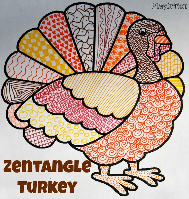 make a zentangle turkey - or even a texture turkey - Thanksgiving art project for kids