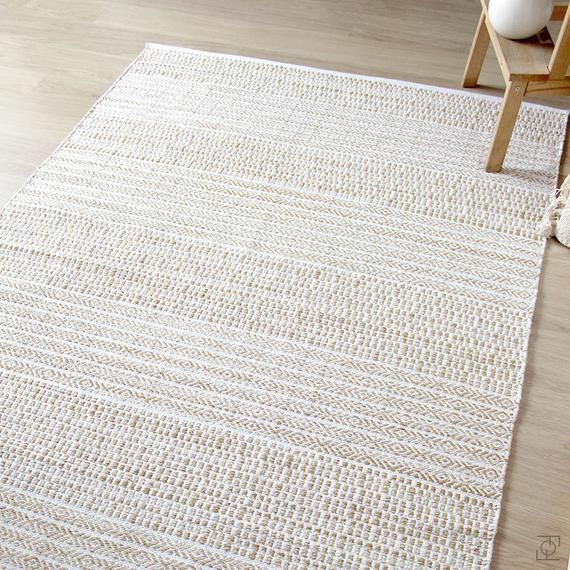 White Beige Scandinavian Rug Pattern Cotton Rug Ivory Beige Etsy In 2020 Scandinavian Rug Cotton Rug Handwoven Rugs