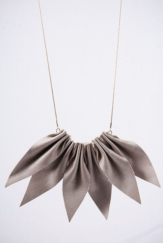 Leather jewelry, leather necklace, gray and pink, leaf jewelry, leather Accessories, gold field chain