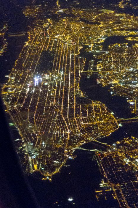 NYC sky view at night. Which is the brightest point? Times Square <3