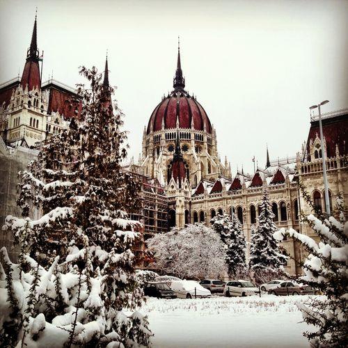Snowy Parliament - Budapest, Hungary