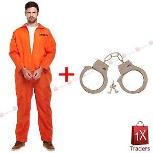 NEW Prisoner Orange Jumpsuit Convict Prison Fancy Dress Costume Outfit | eBay