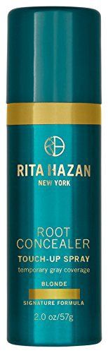 (Product review for Rita Hazan Root Concealer for Gray Coverage-Blonde,2 fluid ounce). For golden to sandy shades, Rita's revolutionary aerosol concealer extends salon color. Waterproof and transfer-proof. Waterproof and transfer. An award-winning aerosol root concealer extends salon color with temporary gray root cover-up. The only water-proof, transfer-proof touch up spray with a...