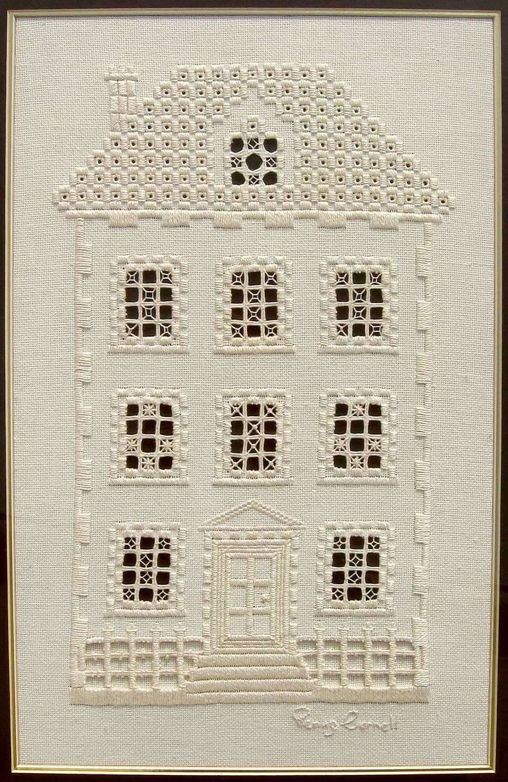 This hardanger house embroidery is delightful - don't you think? It's the work of embroidery artist Penny Cornett.